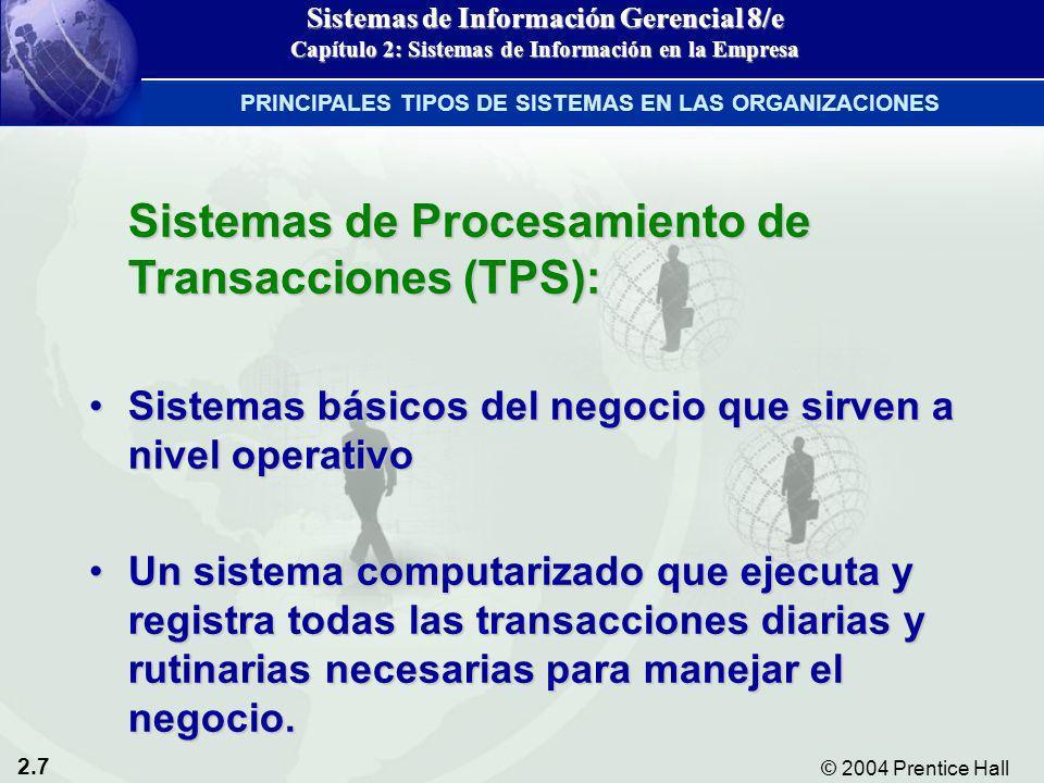2.7 © 2004 Prentice Hall Sistemas de Información Gerencial 8/e Capítulo 2: Sistemas de Información en la Empresa Sistemas de Procesamiento de Transacc