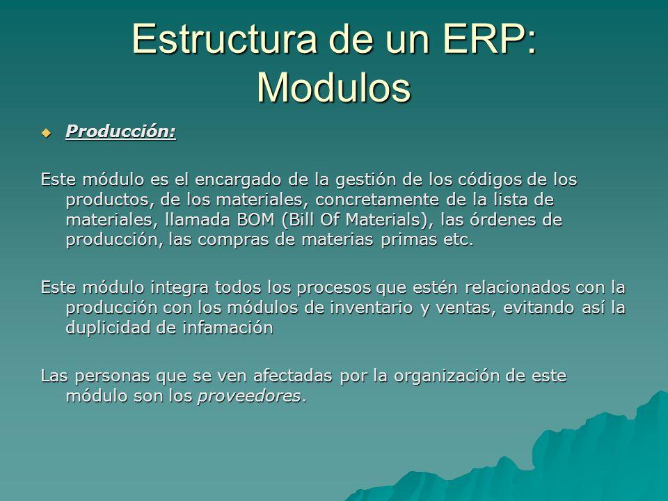 Estructura de un ERP: Modulos Producción: Producción: Este módulo es el encargado de la gestión de los códigos de los productos, de los materiales, co