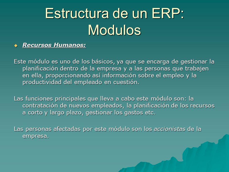 Estructura de un ERP: Modulos Recursos Humanos: Recursos Humanos: Este módulo es uno de los básicos, ya que se encarga de gestionar la planificación d