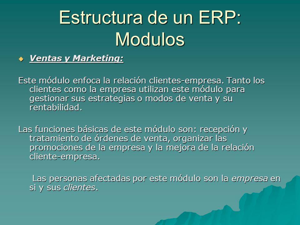 Estructura de un ERP: Modulos Ventas y Marketing: Ventas y Marketing: Este módulo enfoca la relación clientes-empresa. Tanto los clientes como la empr