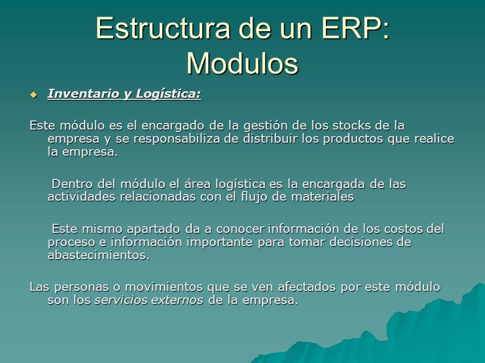 Estructura de un ERP: Modulos Inventario y Logística: Inventario y Logística: Este módulo es el encargado de la gestión de los stocks de la empresa y