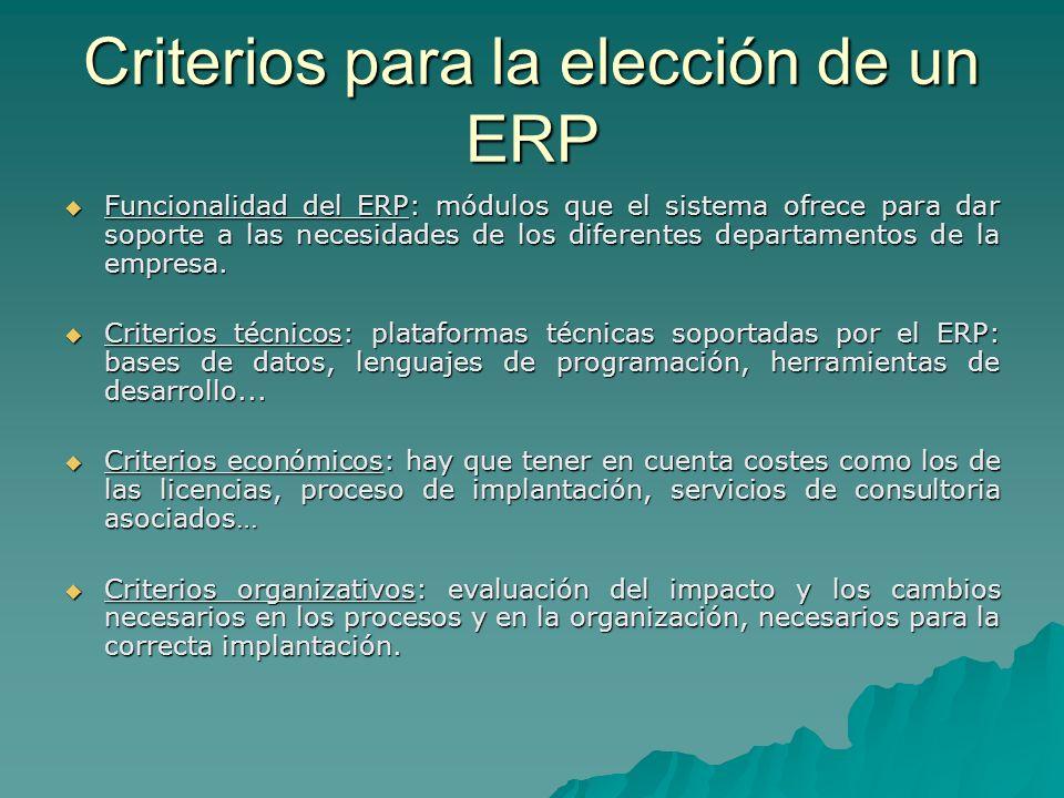 Criterios para la elección de un ERP Funcionalidad del ERP: módulos que el sistema ofrece para dar soporte a las necesidades de los diferentes departa