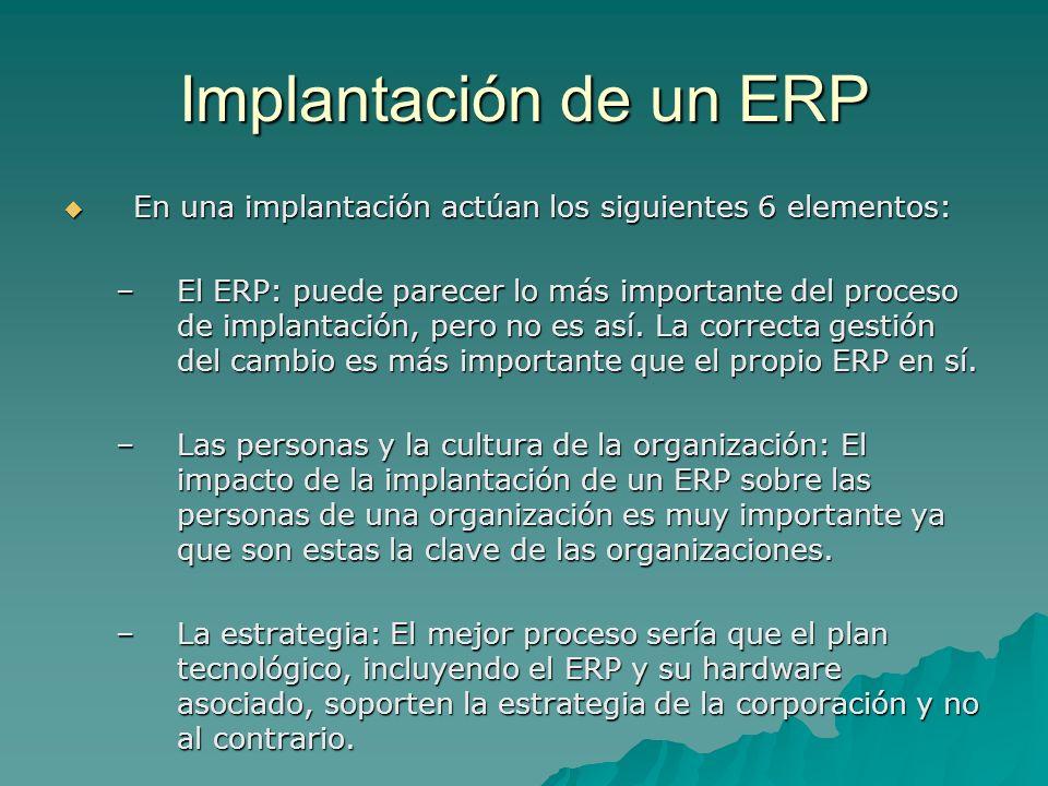 Implantación de un ERP En una implantación actúan los siguientes 6 elementos: En una implantación actúan los siguientes 6 elementos: –El ERP: puede pa
