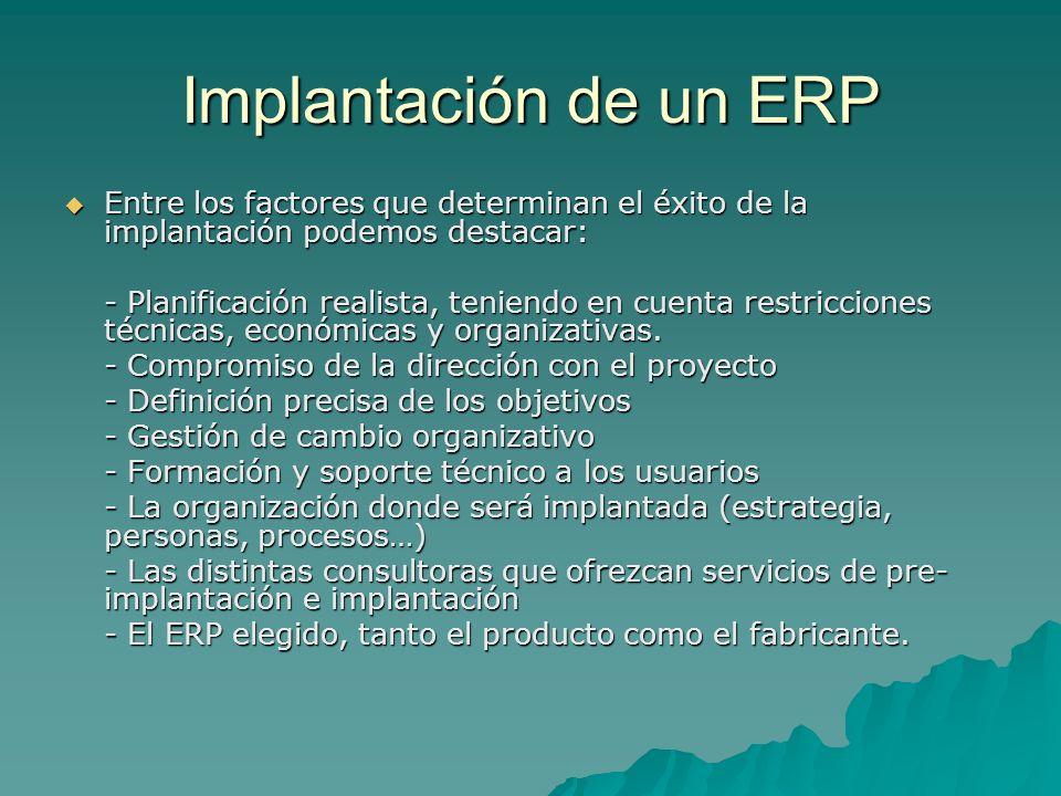 Implantación de un ERP Entre los factores que determinan el éxito de la implantación podemos destacar: Entre los factores que determinan el éxito de l