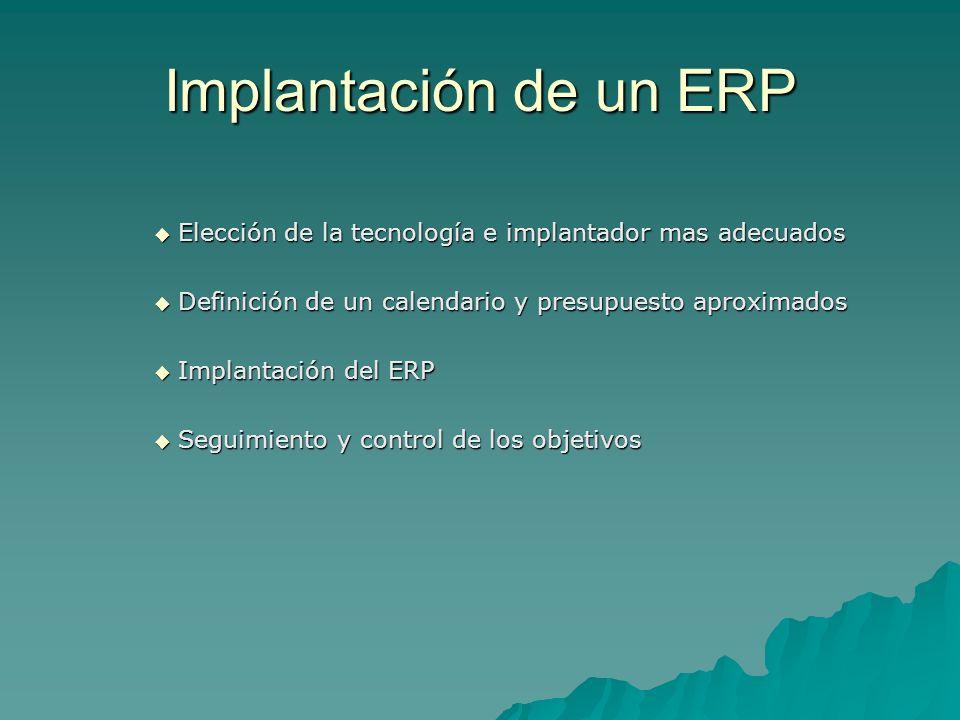 Implantación de un ERP Elección de la tecnología e implantador mas adecuados Elección de la tecnología e implantador mas adecuados Definición de un ca