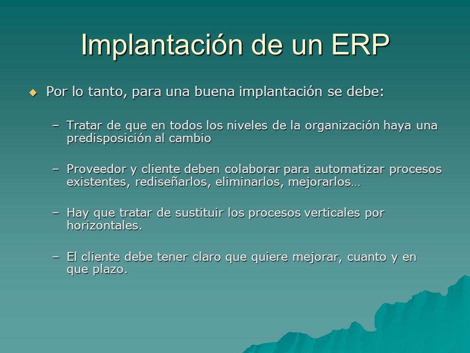 Implantación de un ERP Por lo tanto, para una buena implantación se debe: Por lo tanto, para una buena implantación se debe: –Tratar de que en todos l