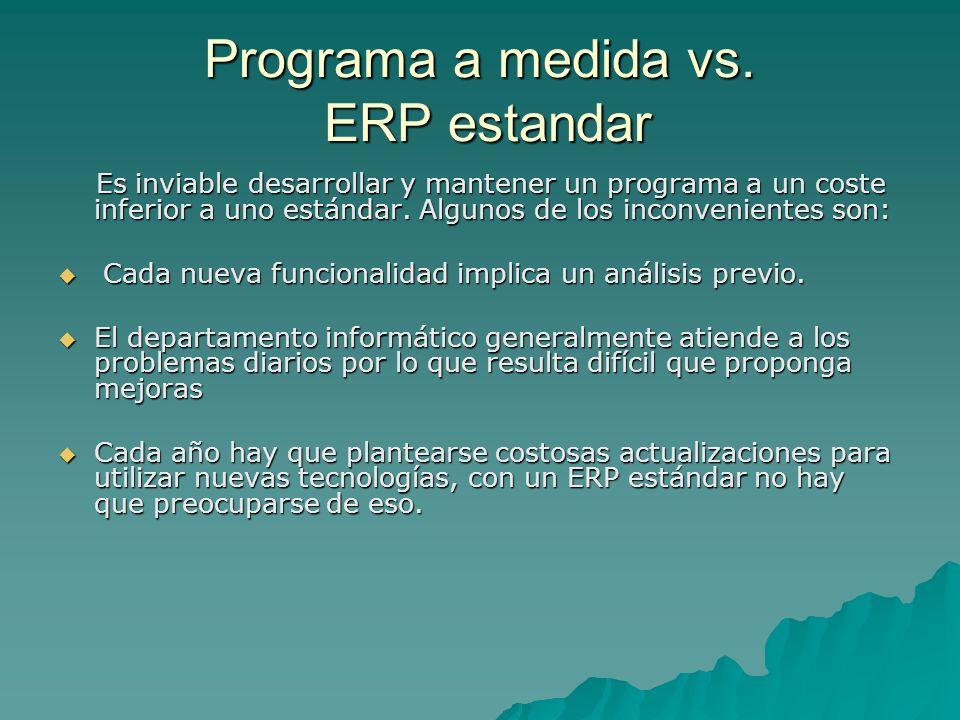 Programa a medida vs. ERP estandar Es inviable desarrollar y mantener un programa a un coste inferior a uno estándar. Algunos de los inconvenientes so