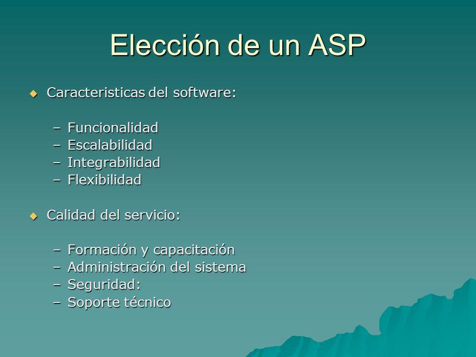Elección de un ASP Caracteristicas del software: Caracteristicas del software: –Funcionalidad –Escalabilidad –Integrabilidad –Flexibilidad Calidad del