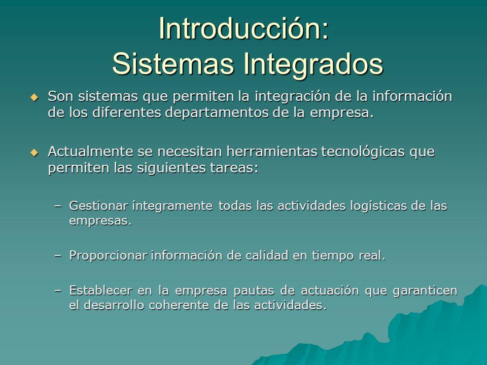 Introducción: Sistemas Integrados Son sistemas que permiten la integración de la información de los diferentes departamentos de la empresa. Son sistem