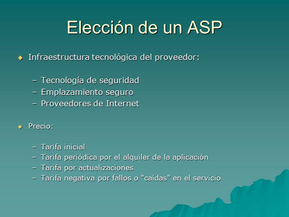 Elección de un ASP Infraestructura tecnológica del proveedor: Infraestructura tecnológica del proveedor: –Tecnología de seguridad –Emplazamiento segur