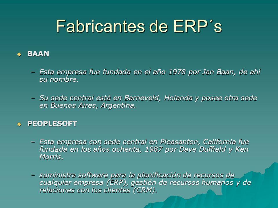 Fabricantes de ERP´s BAAN BAAN –Esta empresa fue fundada en el año 1978 por Jan Baan, de ahí su nombre. –Su sede central está en Barneveld, Holanda y