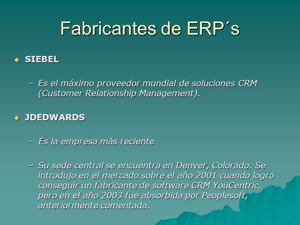 Fabricantes de ERP´s SIEBEL SIEBEL –Es el máximo proveedor mundial de soluciones CRM (Customer Relationship Management). JDEDWARDS JDEDWARDS - Es la e