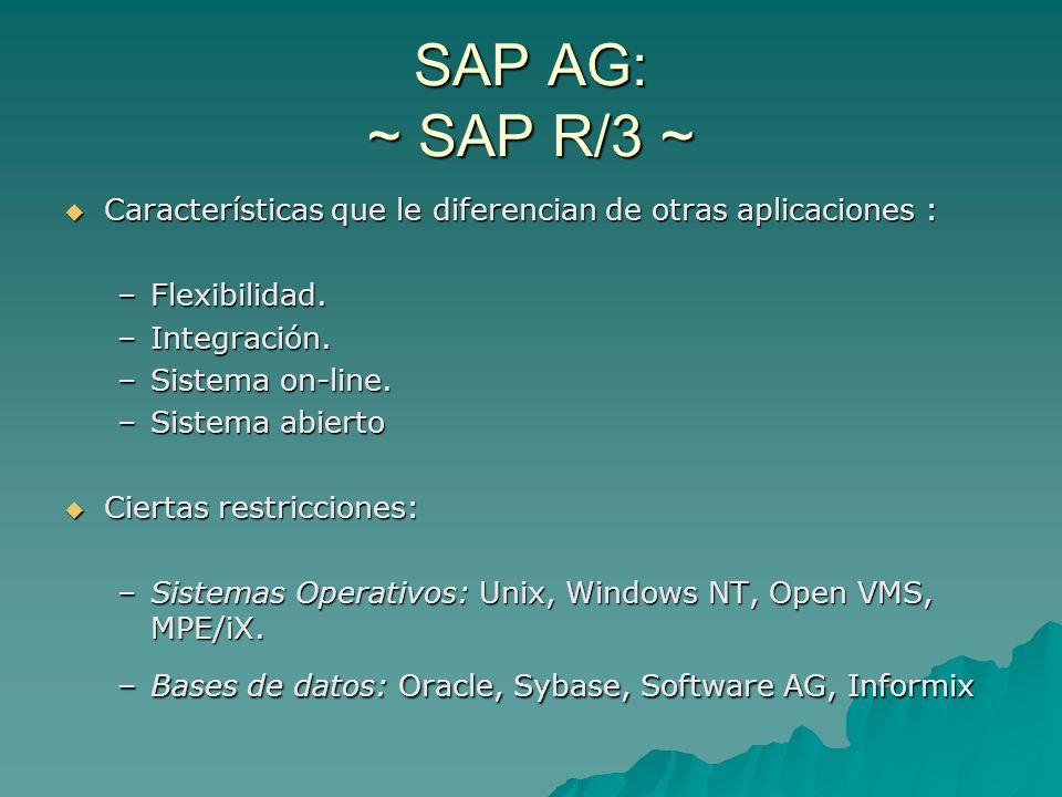 SAP AG: ~ SAP R/3 ~ Características que le diferencian de otras aplicaciones : Características que le diferencian de otras aplicaciones : –Flexibilida