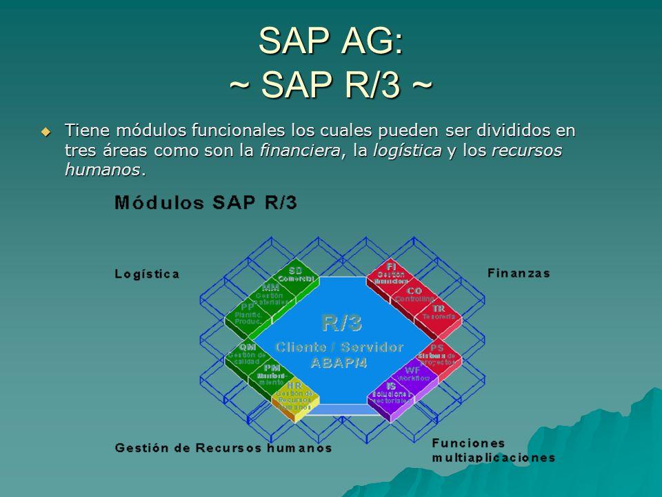 SAP AG: ~ SAP R/3 ~ Tiene módulos funcionales los cuales pueden ser divididos en tres áreas como son la financiera, la logística y los recursos humano