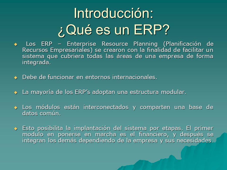 Introducción: ¿Qué es un ERP? Los ERP – Enterprise Resource Planning (Planificación de Recursos Empresariales) se crearon con la finalidad de facilita