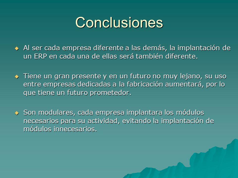 Conclusiones Al ser cada empresa diferente a las demás, la implantación de un ERP en cada una de ellas será también diferente. Al ser cada empresa dif