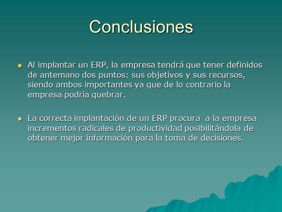 Conclusiones Al implantar un ERP, la empresa tendrá que tener definidos de antemano dos puntos: sus objetivos y sus recursos, siendo ambos importantes
