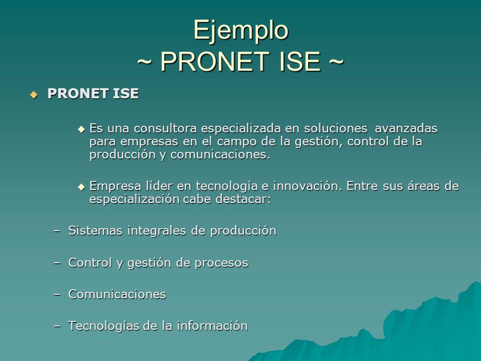 Ejemplo ~ PRONET ISE ~ PRONET ISE PRONET ISE Es una consultora especializada en soluciones avanzadas para empresas en el campo de la gestión, control