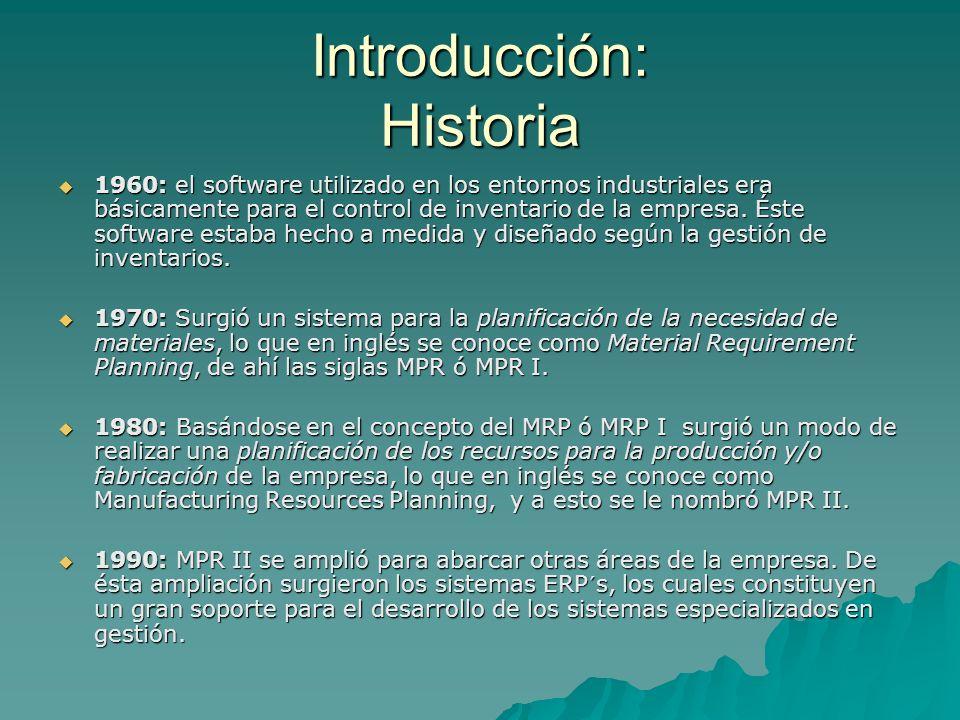 Introducción: Historia 1960: el software utilizado en los entornos industriales era básicamente para el control de inventario de la empresa. Éste soft
