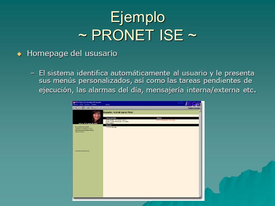 Ejemplo ~ PRONET ISE ~ Homepage del ususario Homepage del ususario –El sistema identifica automáticamente al usuario y le presenta sus menús personali