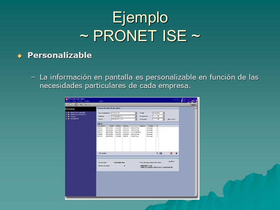 Ejemplo ~ PRONET ISE ~ Personalizable Personalizable –La información en pantalla es personalizable en función de las necesidades particulares de cada