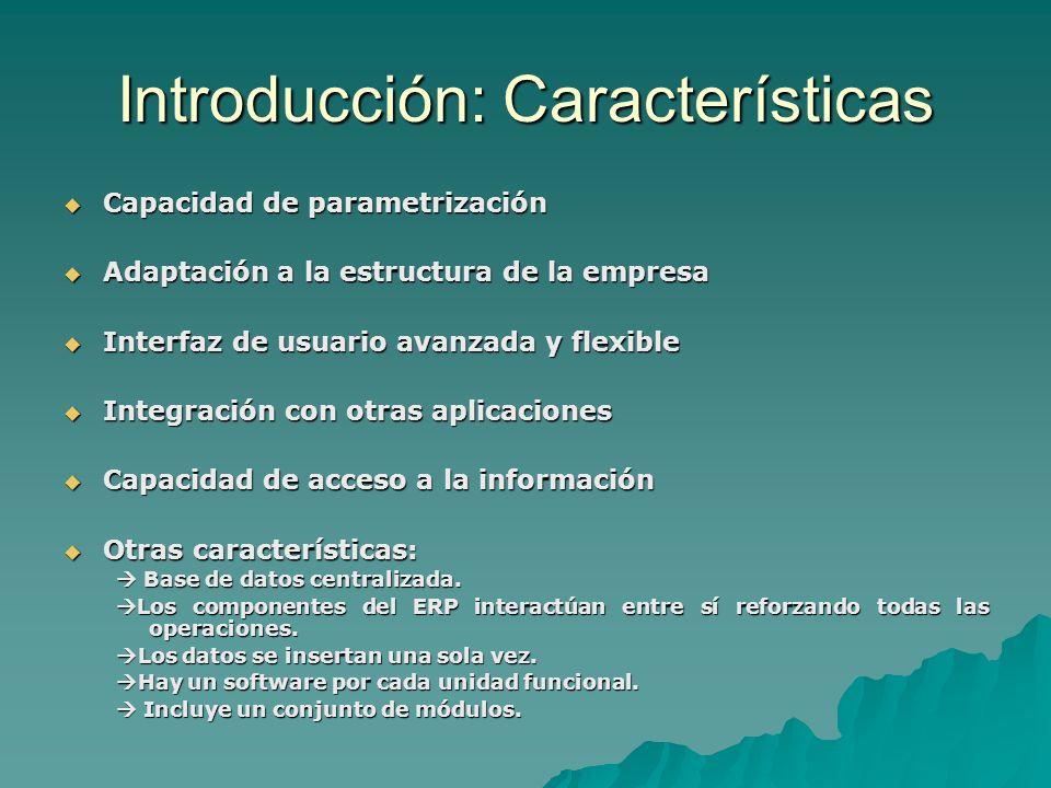 Introducción: Características Las mas importantes son: Las mas importantes son: –Lenguajes: Las aplicaciones ERP han de haber sido construidas con lenguajes de programación modernos y potentes.