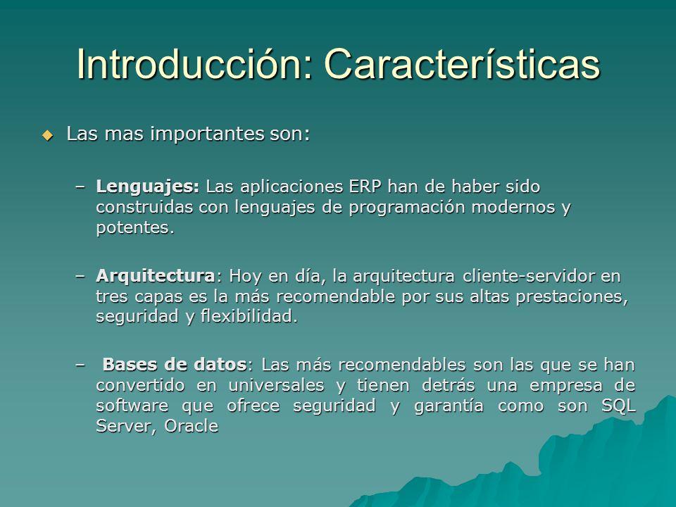 Introducción: Características Las mas importantes son: Las mas importantes son: –Lenguajes: Las aplicaciones ERP han de haber sido construidas con len