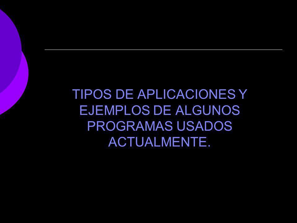 TIPOS DE APLICACIONES Y EJEMPLOS DE ALGUNOS PROGRAMAS USADOS ACTUALMENTE.