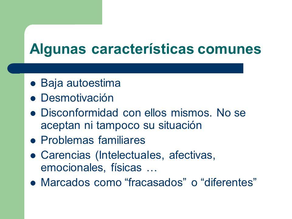 Algunas características comunes Baja autoestima Desmotivación Disconformidad con ellos mismos.