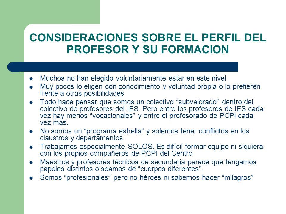 Consideraciones sobre la formación del profesorado de PCPI Necesidad de un modelo de formación específico para este colectivo.