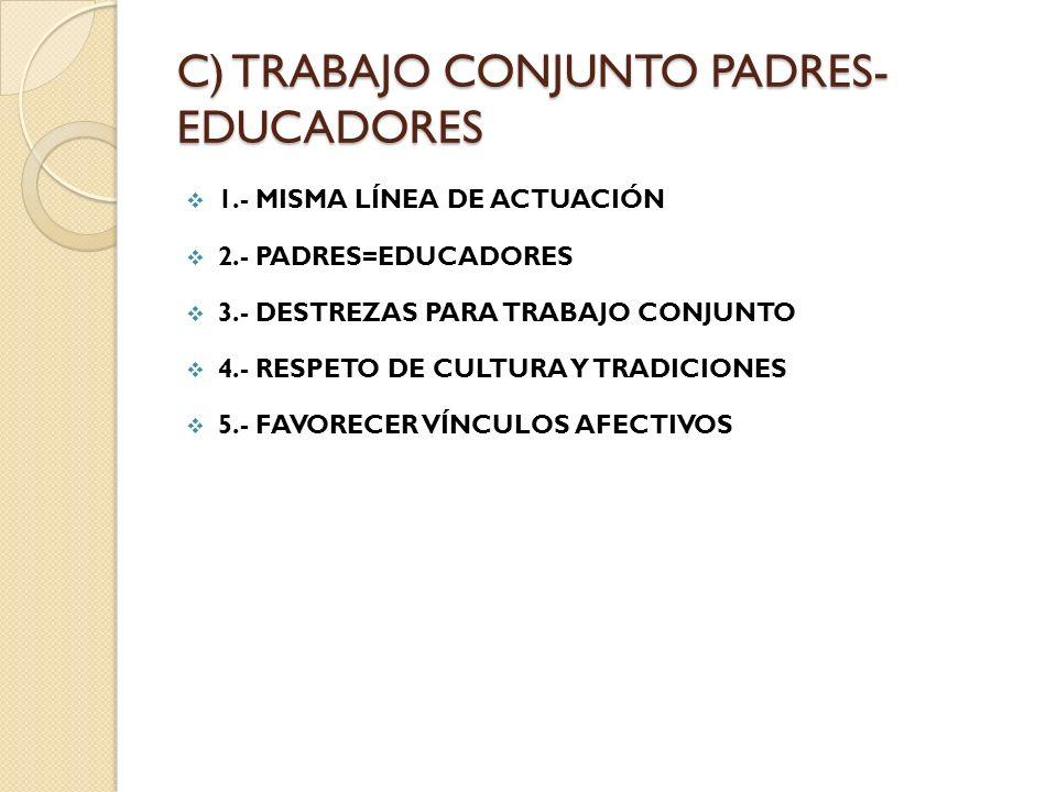C) TRABAJO CONJUNTO PADRES- EDUCADORES 1.- MISMA LÍNEA DE ACTUACIÓN 2.- PADRES=EDUCADORES 3.- DESTREZAS PARA TRABAJO CONJUNTO 4.- RESPETO DE CULTURA Y