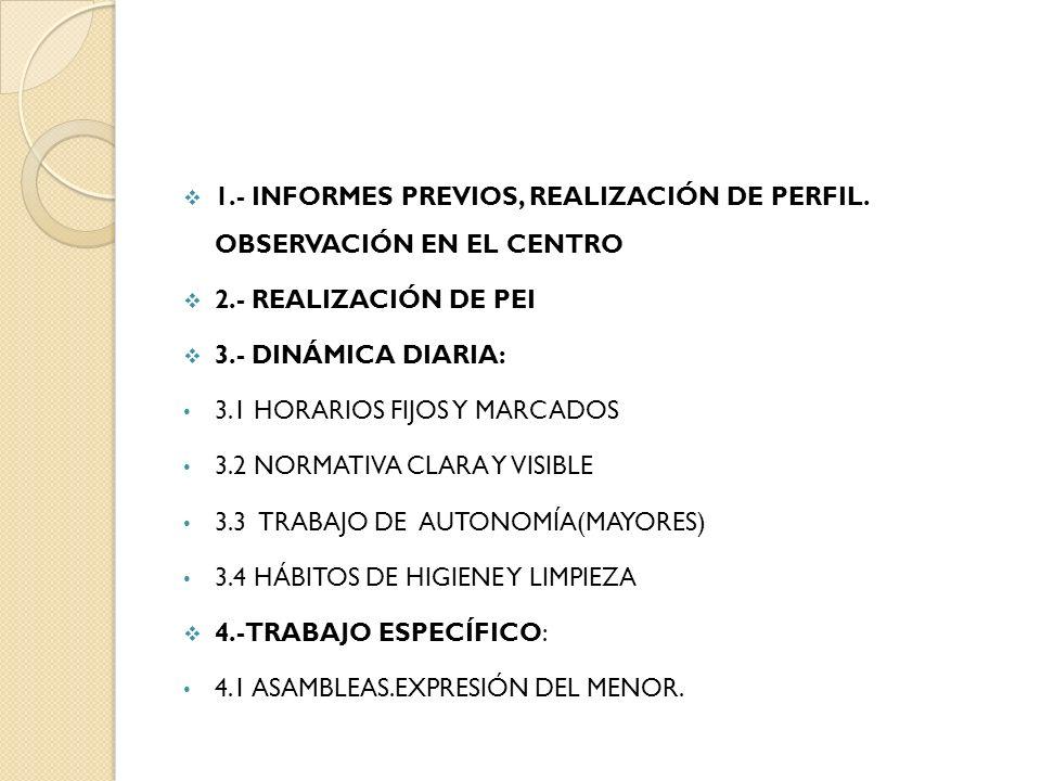 1.- INFORMES PREVIOS, REALIZACIÓN DE PERFIL. OBSERVACIÓN EN EL CENTRO 2.- REALIZACIÓN DE PEI 3.- DINÁMICA DIARIA: 3.1 HORARIOS FIJOS Y MARCADOS 3.2 NO