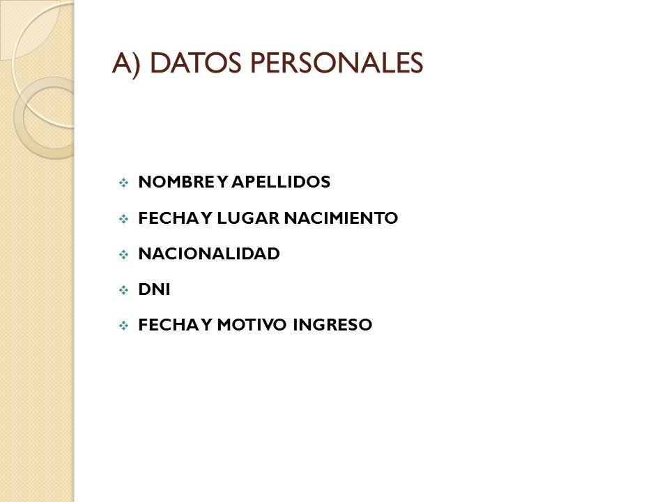 A) DATOS PERSONALES NOMBRE Y APELLIDOS FECHA Y LUGAR NACIMIENTO NACIONALIDAD DNI FECHA Y MOTIVO INGRESO