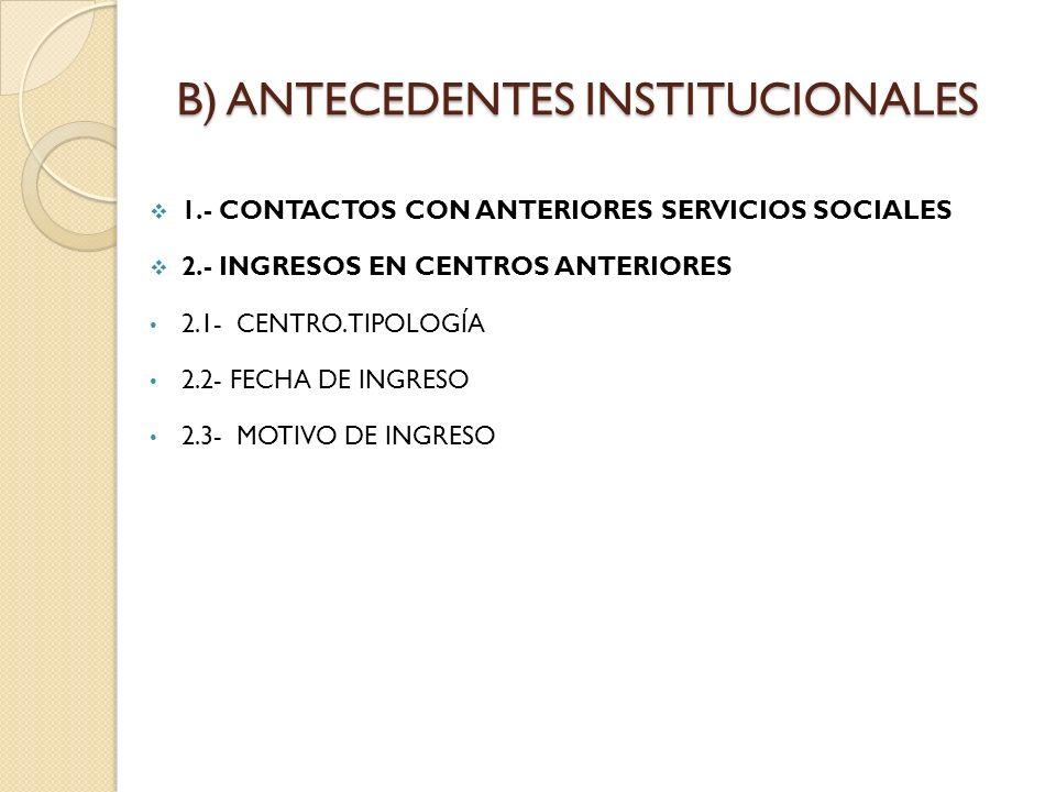 B) ANTECEDENTES INSTITUCIONALES 1.- CONTACTOS CON ANTERIORES SERVICIOS SOCIALES 2.- INGRESOS EN CENTROS ANTERIORES 2.1- CENTRO.TIPOLOGÍA 2.2- FECHA DE
