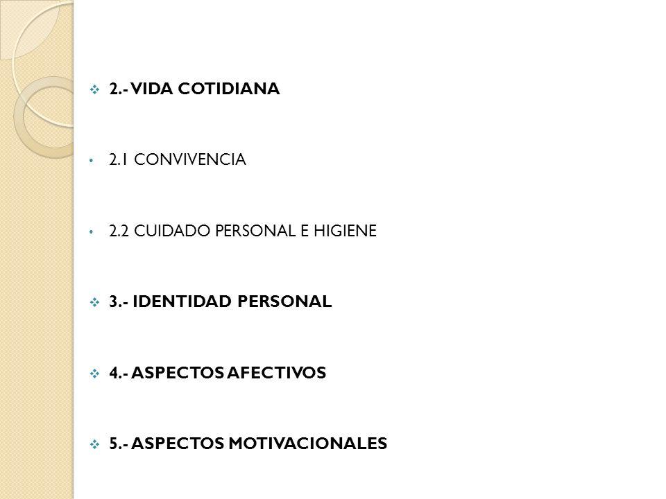 2.- VIDA COTIDIANA 2.1 CONVIVENCIA 2.2 CUIDADO PERSONAL E HIGIENE 3.- IDENTIDAD PERSONAL 4.- ASPECTOS AFECTIVOS 5.- ASPECTOS MOTIVACIONALES