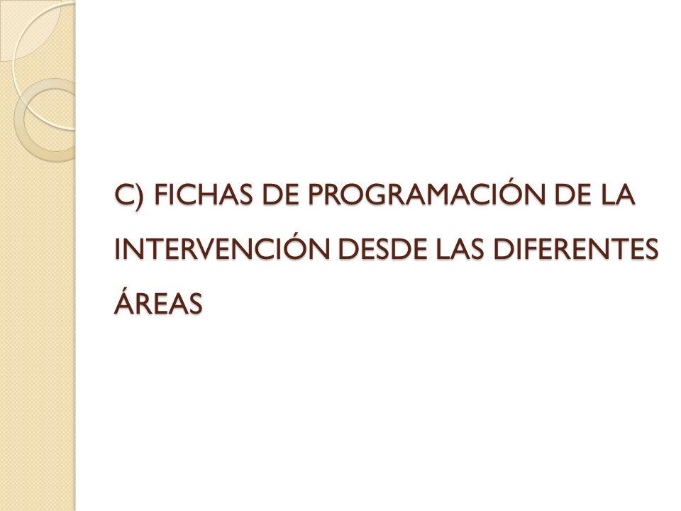 C) FICHAS DE PROGRAMACIÓN DE LA INTERVENCIÓN DESDE LAS DIFERENTES ÁREAS