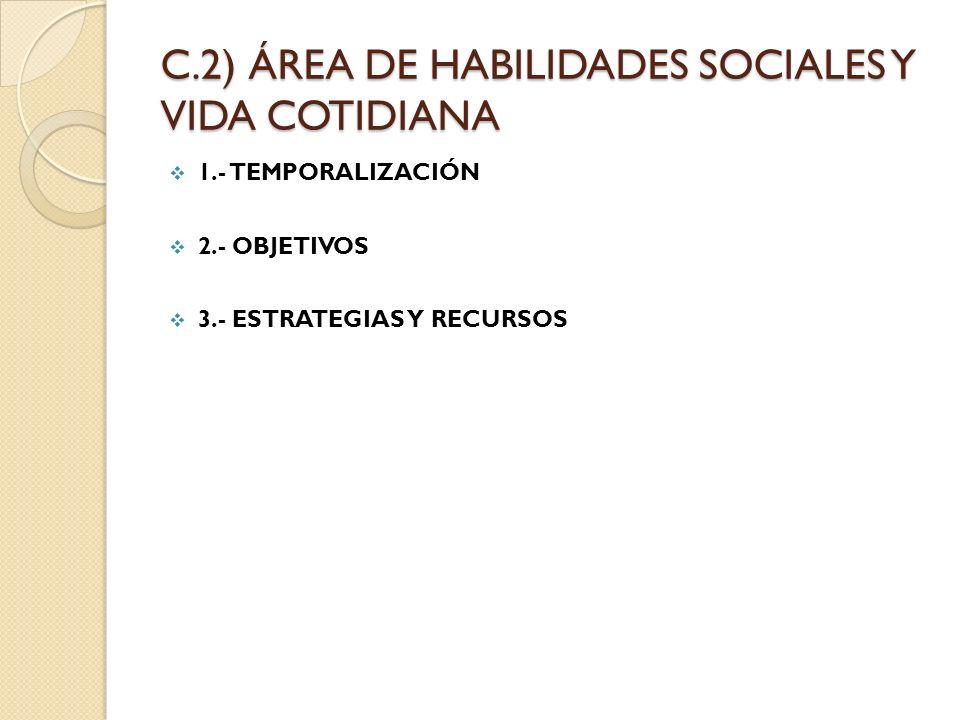C.2) ÁREA DE HABILIDADES SOCIALES Y VIDA COTIDIANA 1.- TEMPORALIZACIÓN 2.- OBJETIVOS 3.- ESTRATEGIAS Y RECURSOS