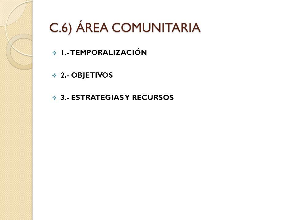C.6) ÁREA COMUNITARIA 1.- TEMPORALIZACIÓN 2.- OBJETIVOS 3.- ESTRATEGIAS Y RECURSOS