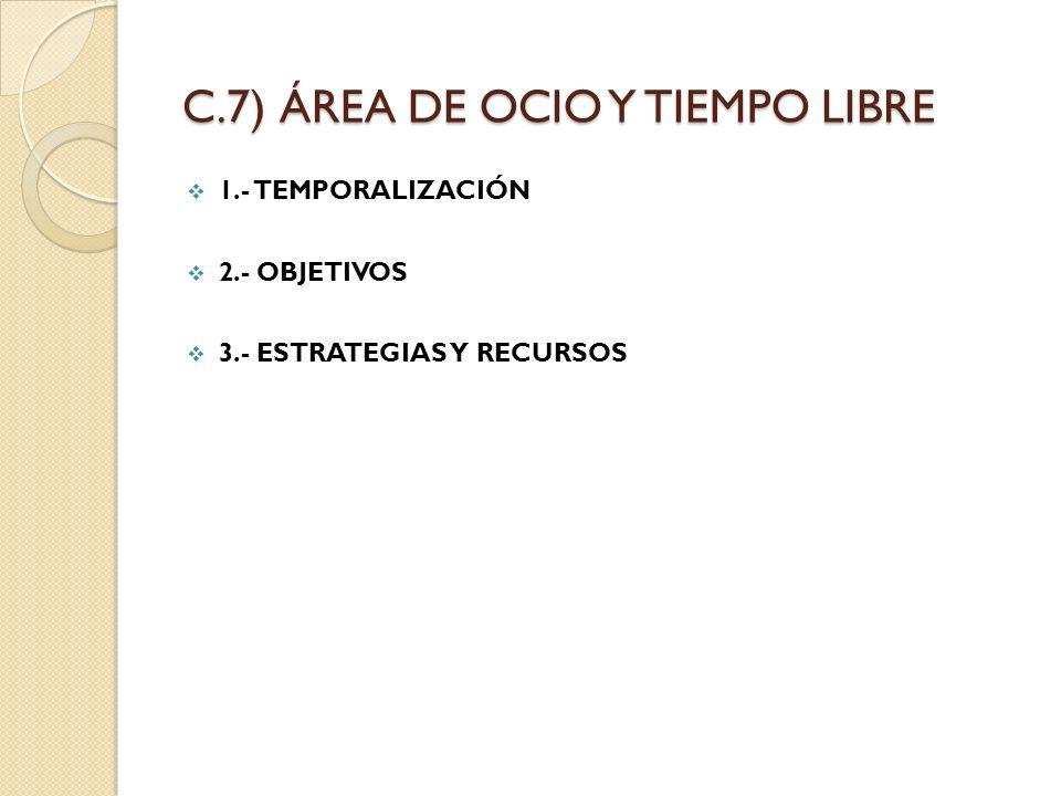 C.7) ÁREA DE OCIO Y TIEMPO LIBRE 1.- TEMPORALIZACIÓN 2.- OBJETIVOS 3.- ESTRATEGIAS Y RECURSOS