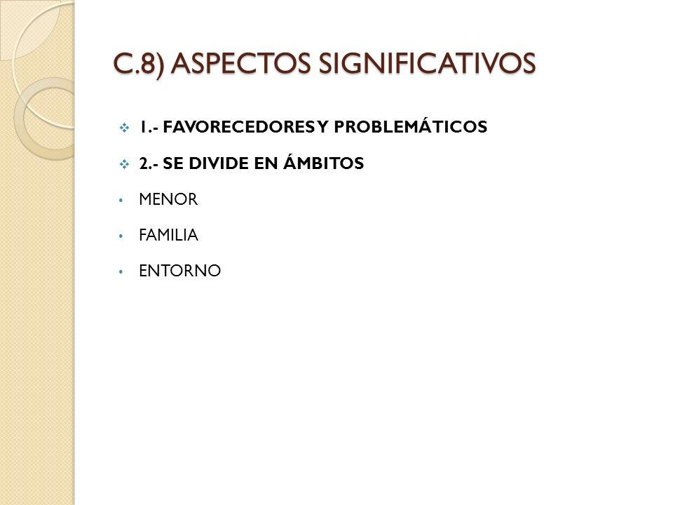 C.8) ASPECTOS SIGNIFICATIVOS 1.- FAVORECEDORES Y PROBLEMÁTICOS 2.- SE DIVIDE EN ÁMBITOS MENOR FAMILIA ENTORNO