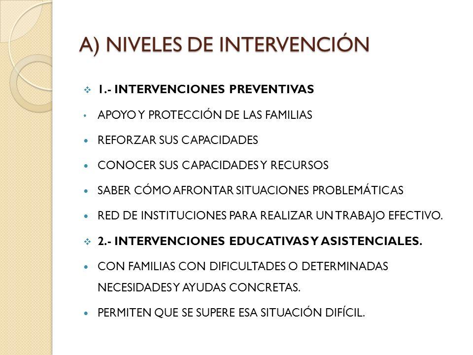 A) NIVELES DE INTERVENCIÓN 1.- INTERVENCIONES PREVENTIVAS APOYO Y PROTECCIÓN DE LAS FAMILIAS REFORZAR SUS CAPACIDADES CONOCER SUS CAPACIDADES Y RECURS
