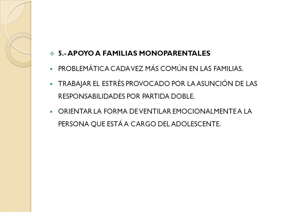 5.- APOYO A FAMILIAS MONOPARENTALES PROBLEMÁTICA CADA VEZ MÁS COMÚN EN LAS FAMILIAS. TRABAJAR EL ESTRÉS PROVOCADO POR LA ASUNCIÓN DE LAS RESPONSABILID