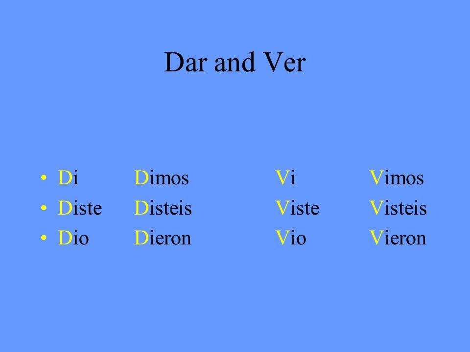 Dar and Ver DiDimosViVimos DisteDisteisVisteVisteis DioDieronVioVieron