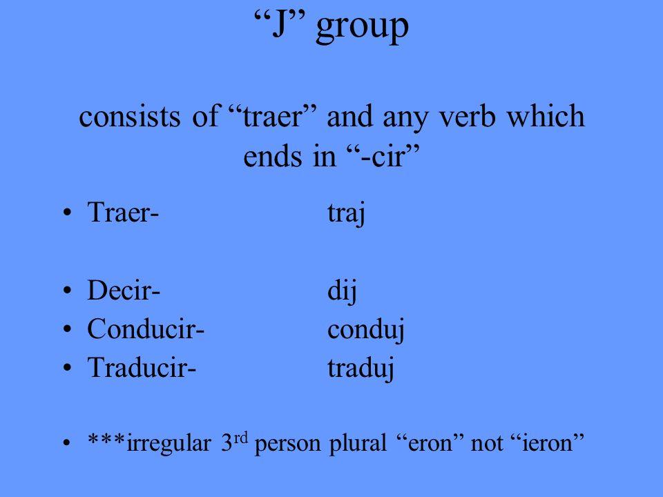 J group consists of traer and any verb which ends in -cir Traer-traj Decir-dij Conducir-conduj Traducir-traduj ***irregular 3 rd person plural eron no
