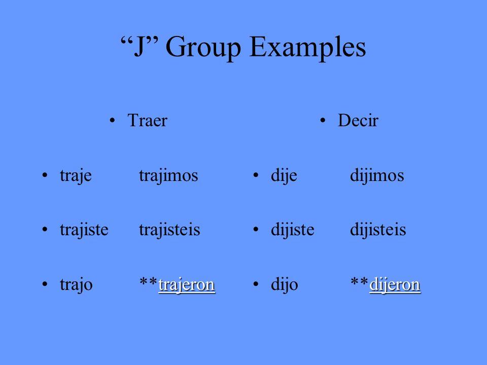 J Group Examples Traer trajetrajimos trajistetrajisteis trajerontrajo**trajeron Decir dijedijimos dijistedijisteis dijerondijo**dijeron