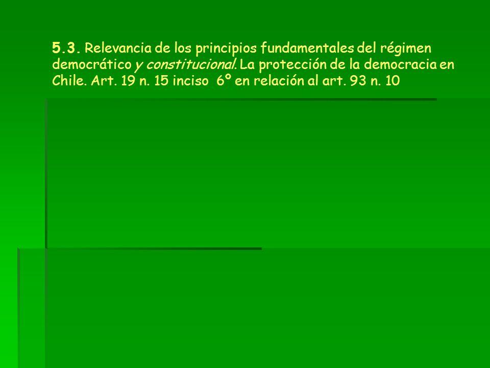 5.3. Relevancia de los principios fundamentales del régimen democrático y constitucional. La protección de la democracia en Chile. Art. 19 n. 15 incis