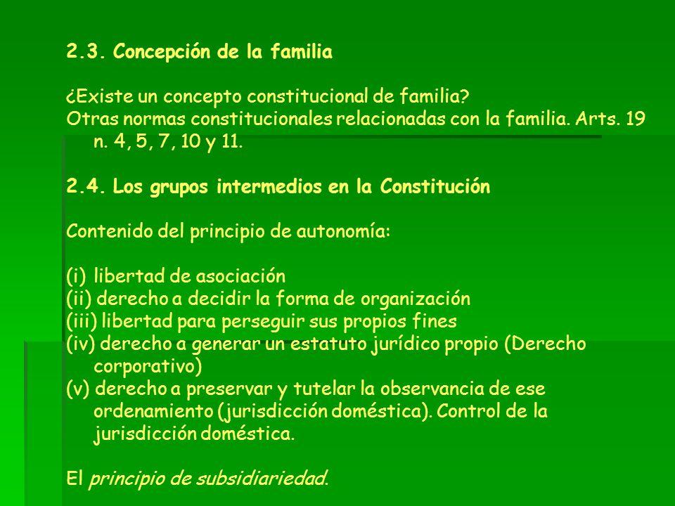 2.3. Concepción de la familia ¿Existe un concepto constitucional de familia? Otras normas constitucionales relacionadas con la familia. Arts. 19 n. 4,