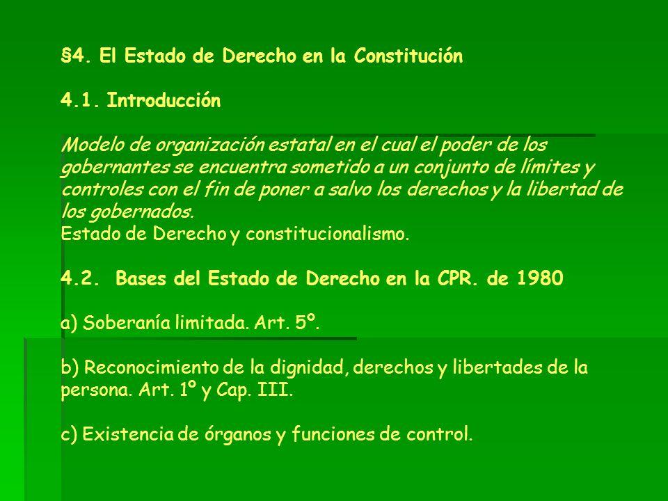 §4. El Estado de Derecho en la Constitución 4.1. Introducción Modelo de organización estatal en el cual el poder de los gobernantes se encuentra somet