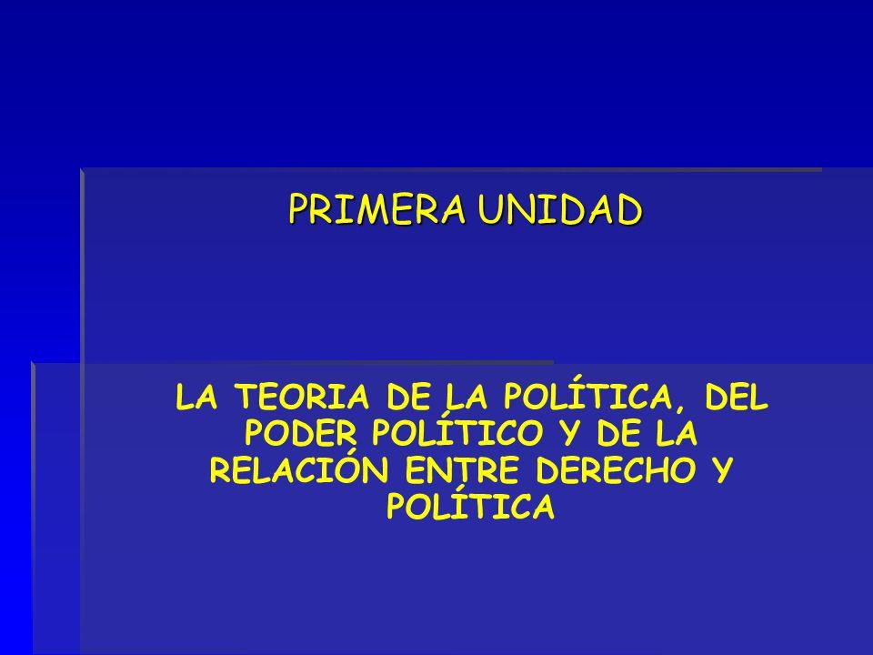 PRIMERA UNIDAD LA TEORIA DE LA POLÍTICA, DEL PODER POLÍTICO Y DE LA RELACIÓN ENTRE DERECHO Y POLÍTICA