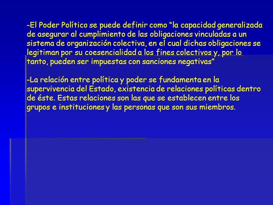 -El Poder Político se puede definir como la capacidad generalizada de asegurar al cumplimiento de las obligaciones vinculadas a un sistema de organiza